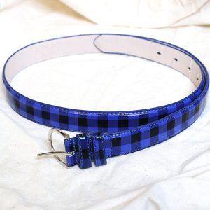 Leather blue/black plaid punk rock goth belt